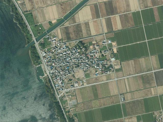 八木浜の集落の空撮写真