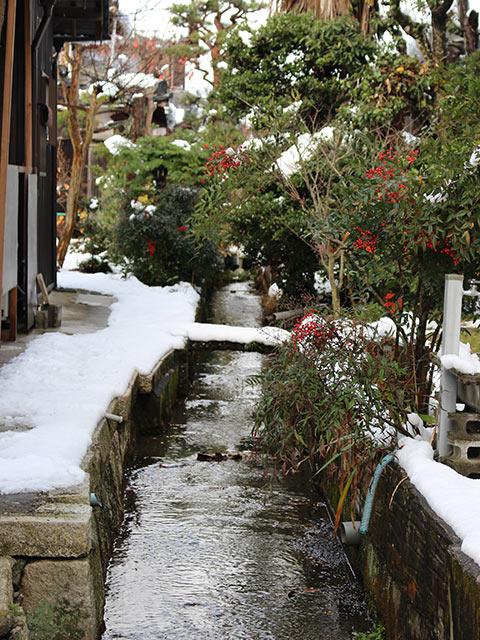 雪の積もった庭の間を流れる水路