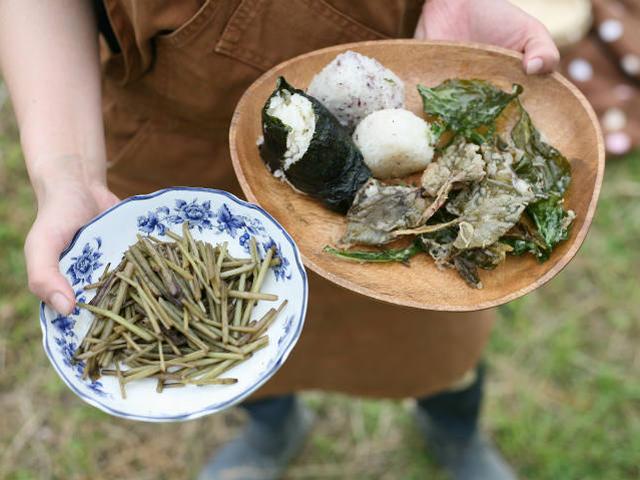 フキとおにぎりと山菜の天ぷら